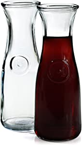 Anchor Hocking 0.5 Liter Glass Wine Carafe, Set of 2, Clear
