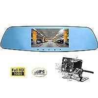 Deals on Cinlitek 1080P Dash Cam w/Rear View Reversing Mirror Camera