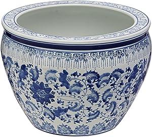"Oriental Furniture 14"" Floral Blue & White Porcelain Fishbowl"