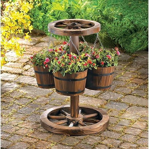Macetas Jardín Decoración rústico 4 maceta de pie Wagon rueda): Amazon.es: Jardín