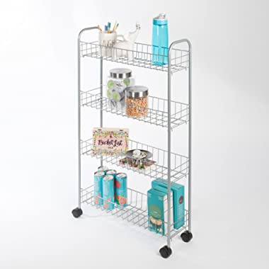 Richards Homewares 10334 4 Tier Rolling Slim Cart, 22.5  x 7  x 37 , Silver