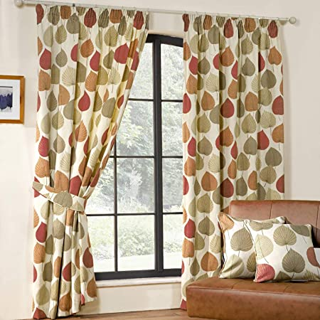 Inglewood Modern Pencil Pleat Leaf Print Curtains Terracotta