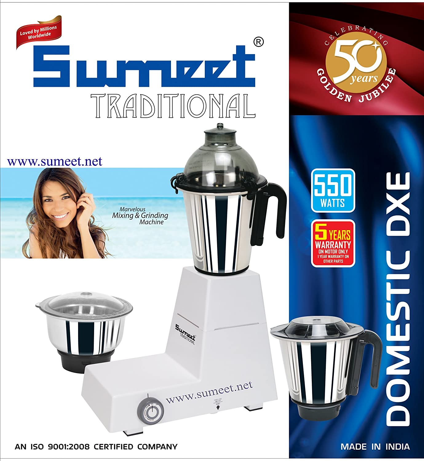 White Sumeet Domestic-dxe 110v Traditional Indian Mixer Grinder