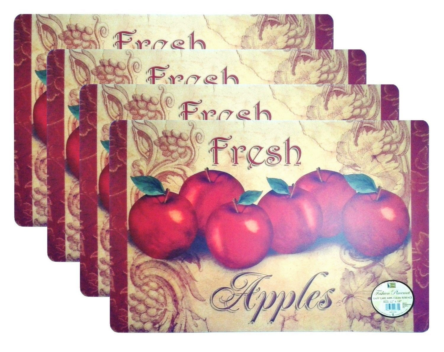 "Set of 4 Fashion Placemats Durable Fresh Apples Pattern Ease Care Wipe Clean Foam Backing Table Place Mat Set 12"" X 18"""