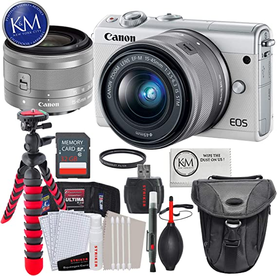 Canon EOS M100 Mirrorless Digital Camera with 15-45mm Lens (White) + Essential Photo Bundle