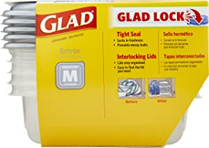 GladWare Home Entree Food Storage Containers, Medium Square Holds 25 Ounces of Food, 5 Count Set