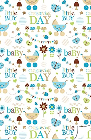 Christening Gift Wrap For A Baby Boy Including Gift Tag S Luxury