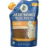 Bare Bones Organic Chicken Bone Broth – Certified Organic, Chicken Bone Broth, Protein/Collagen-rich, 16 oz (6-pack)