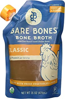 product image for Bare Bones Chicken Bone Broth for Cooking and Sipping, Pasture Raised, Organic, Protein and Collagen Rich, Paleo, Keto Friendly, 16 oz, Pack of 6