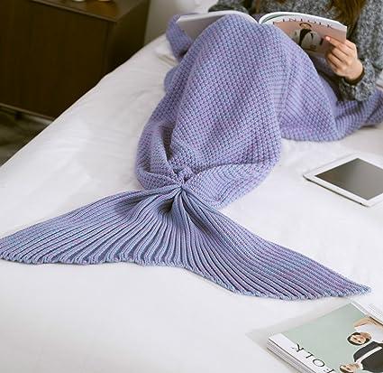 HAPPYX Manta de Dola de Sirena Mermaid ,Ganchillo Tricotar Saco de Dormir Artesanía,Todas
