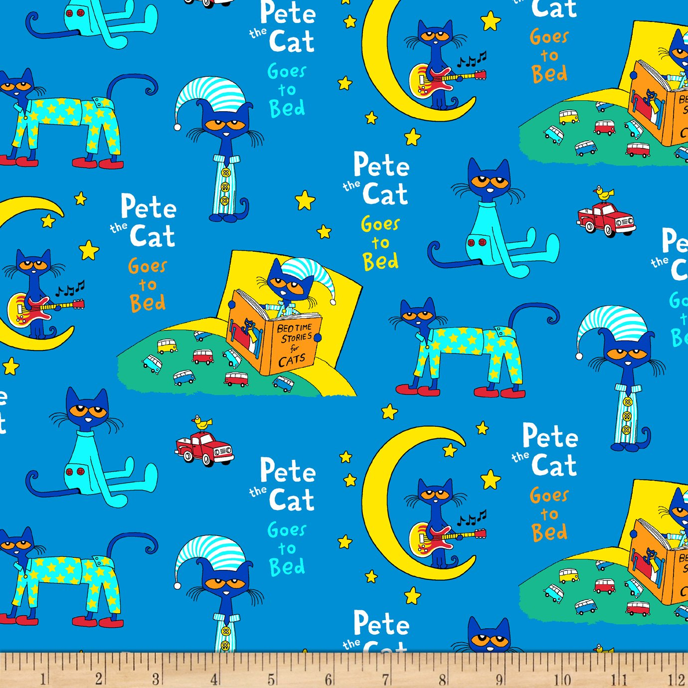 Pete The Cat Flannel Collage Blue Fabric By The Yard