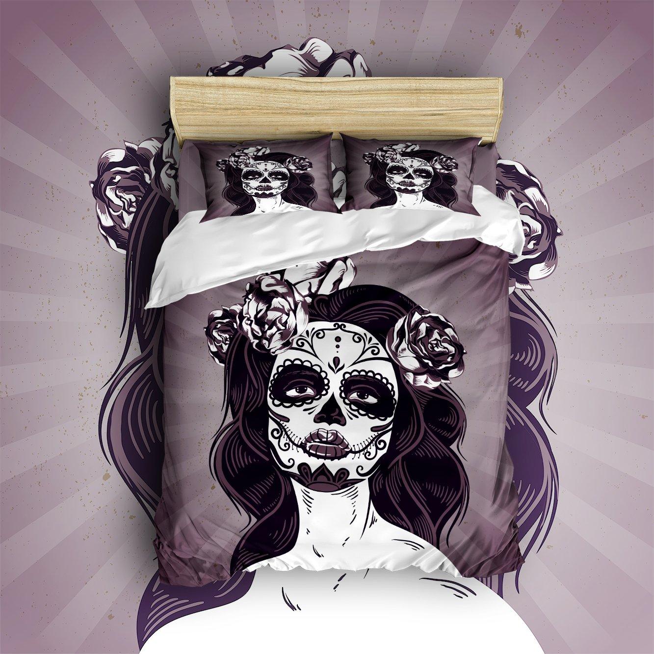Beauty Decor Bedding 4 Piece bed Set Duvet Cover,cartelina skull 4 Piece Bed Sheet Set 1 Flat Sheet 1 Fitted Sheet and 9 Pillow Cases