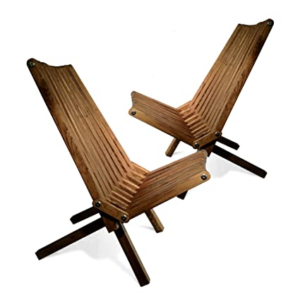 GloDea X36P1BNS2 Lounge Chair, Brown Stain, Set Of 2