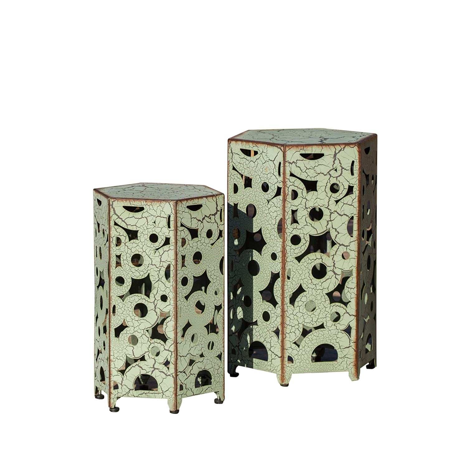 (Set of 2) Utica Antique Style Green Accent Table
