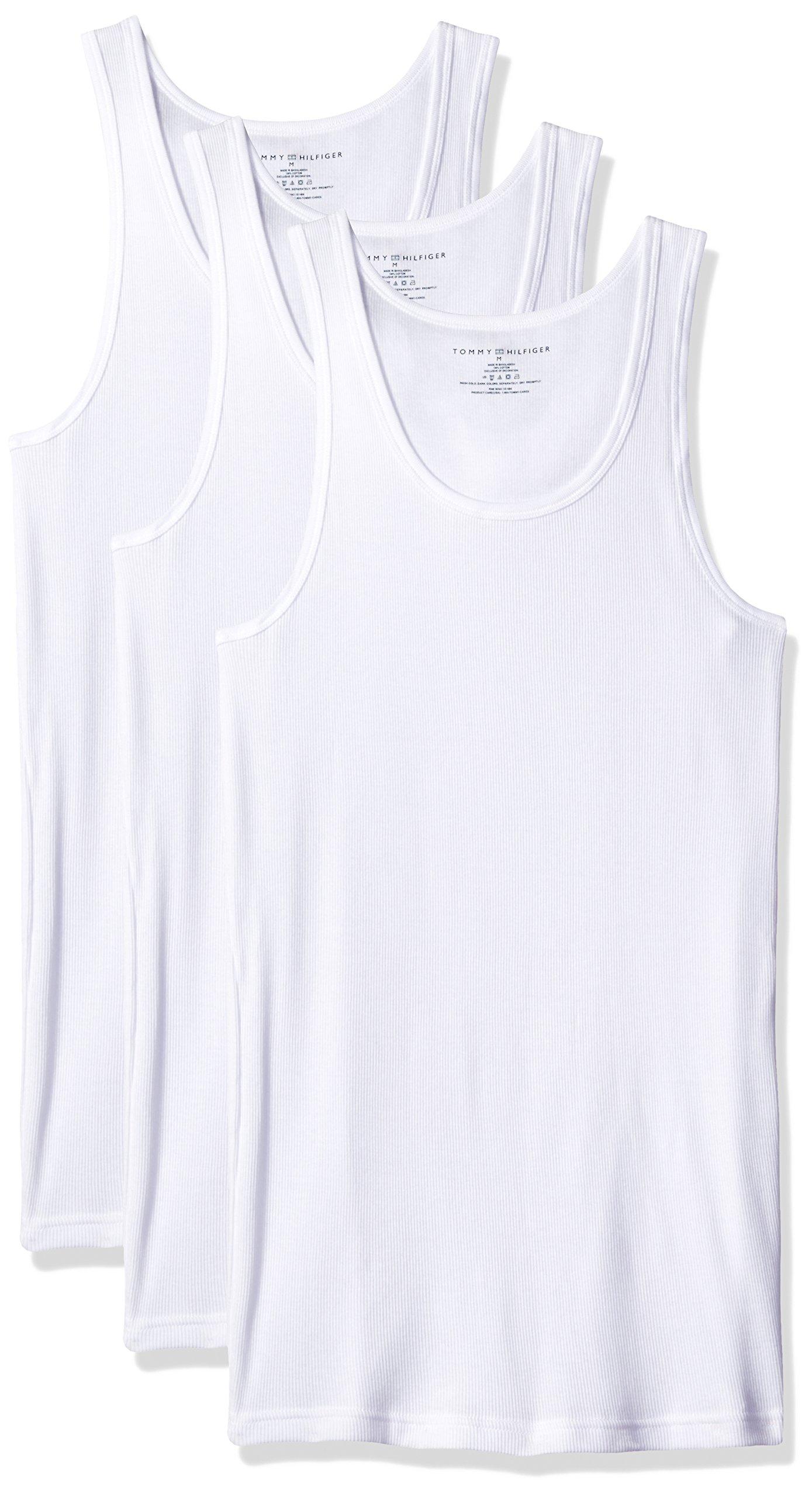 Tommy Hilfiger Men's Undershirts 3 Pack Cotton Classics A Shirt, White, Medium by Tommy Hilfiger
