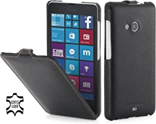 StilGut® UltraSlim Case, custodia in pelle per Microsoft Lumia 535, nero
