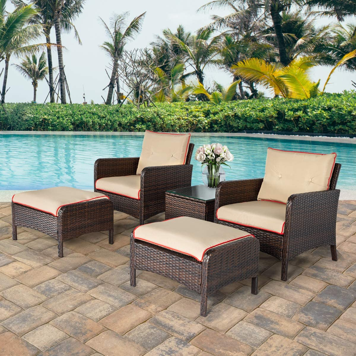 U-MAX 5 Pieces Patio Furniture Set Outdoor Chair and Ottoman Set with Cushions Side Table, PE Wicker Rattan Lawn Pool Balcony Backyard Conversation Lounge Set, Brown