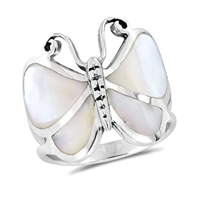 Fine Jewelry 925 Sterling Silver Polished Mother Of Pearl Heart Ring Size 6-8 Pearl