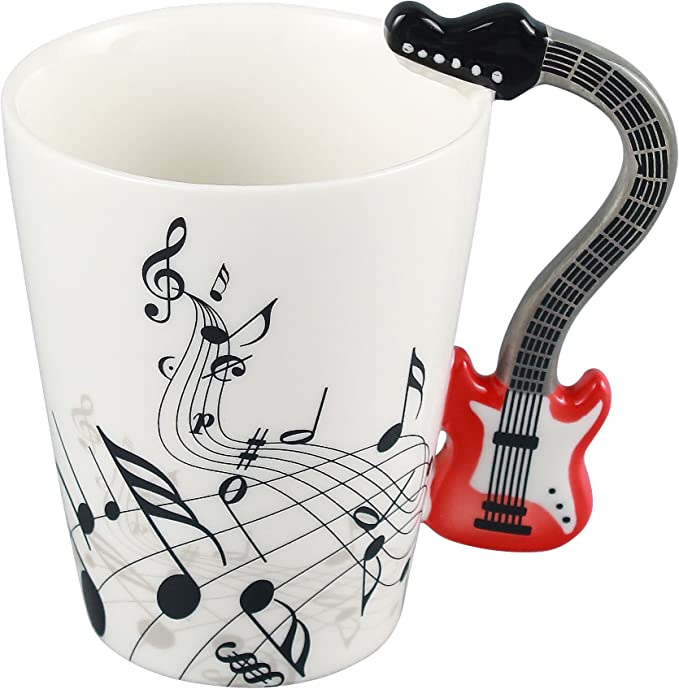 Neolith Novelty Music Coffee Mugs Tea Cup Unique Design Interesting Outline Red Mugs Best Gift Love Music Cool Guitar Holds Tea Coffee Milk Ceramic Mug with Gift Box Art Mug (13.5 oz, Firebrick)