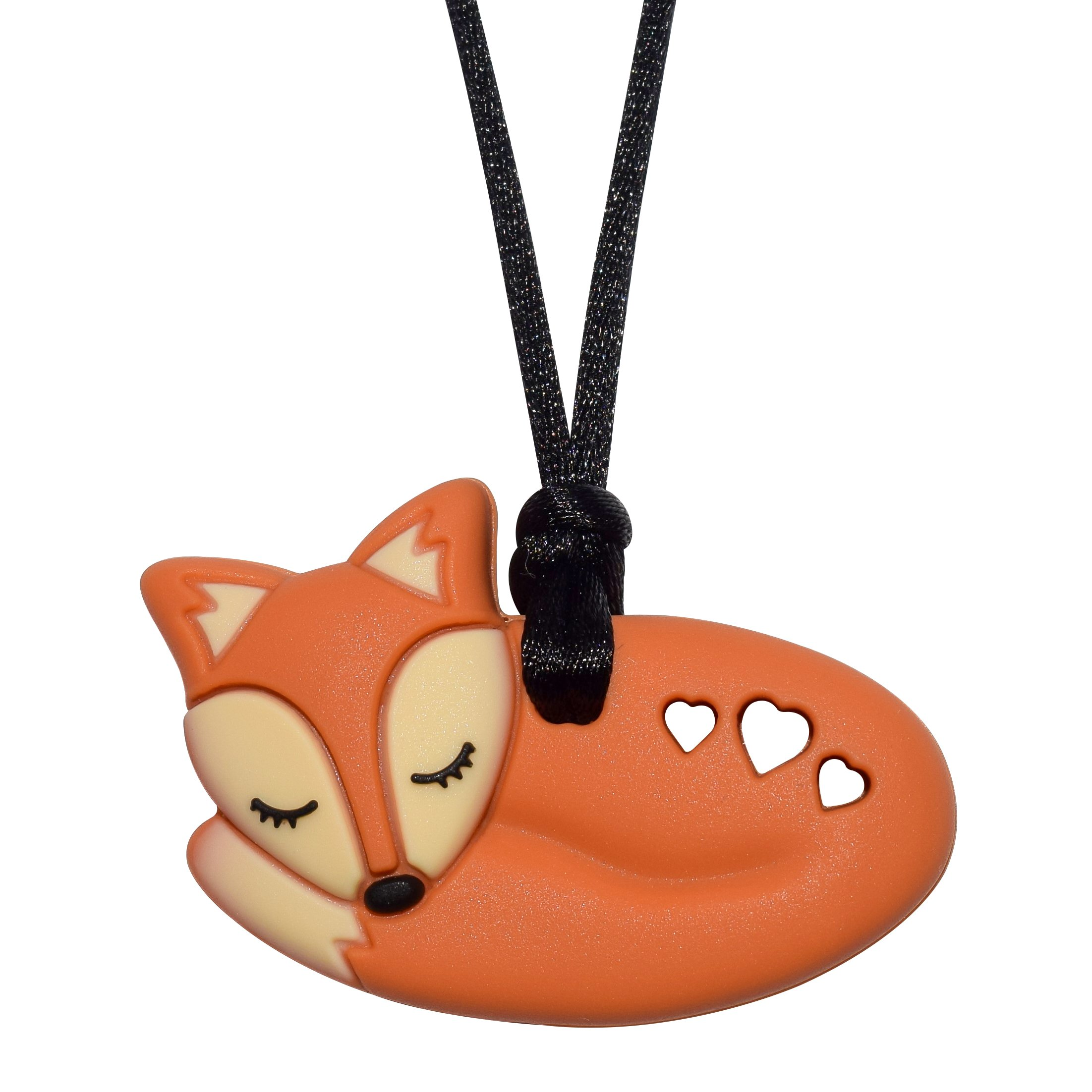 Foxy Fox Necklace (Brown) - Sensory Oral Motor Aide Chewelry Necklace - Chewy Jewelry for Sensory-Focused Kids with Autism Or Special Needs - Calms Kids and Reduces Biting/Chewing/Fidgeting