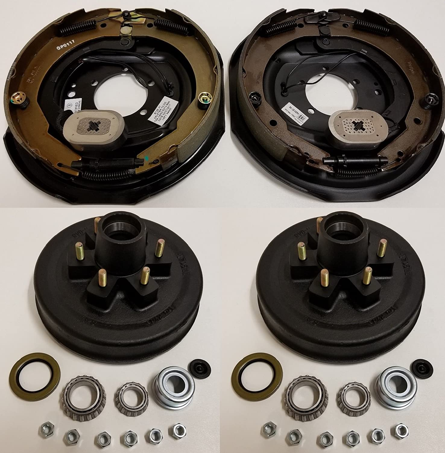 5 on 5.5 Electric Trailer Brake Backing Plates 10 inch LH RH w//2 Hub Drum Kits
