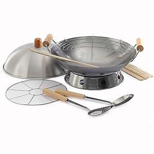 Norpro 10-Piece Wok Set, Silver, 14 inch (506)