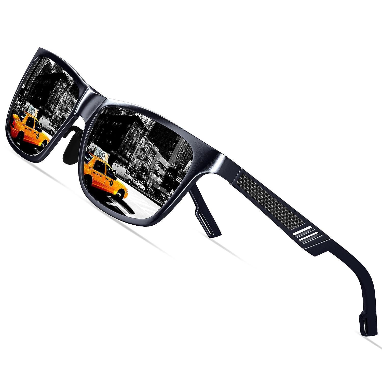KITHDIA Men's Retro Metal Frame Driving Polarized Wayfarer Sunglasses Al-Mg Metal Frame Ultra Light #6560 KA6560-3