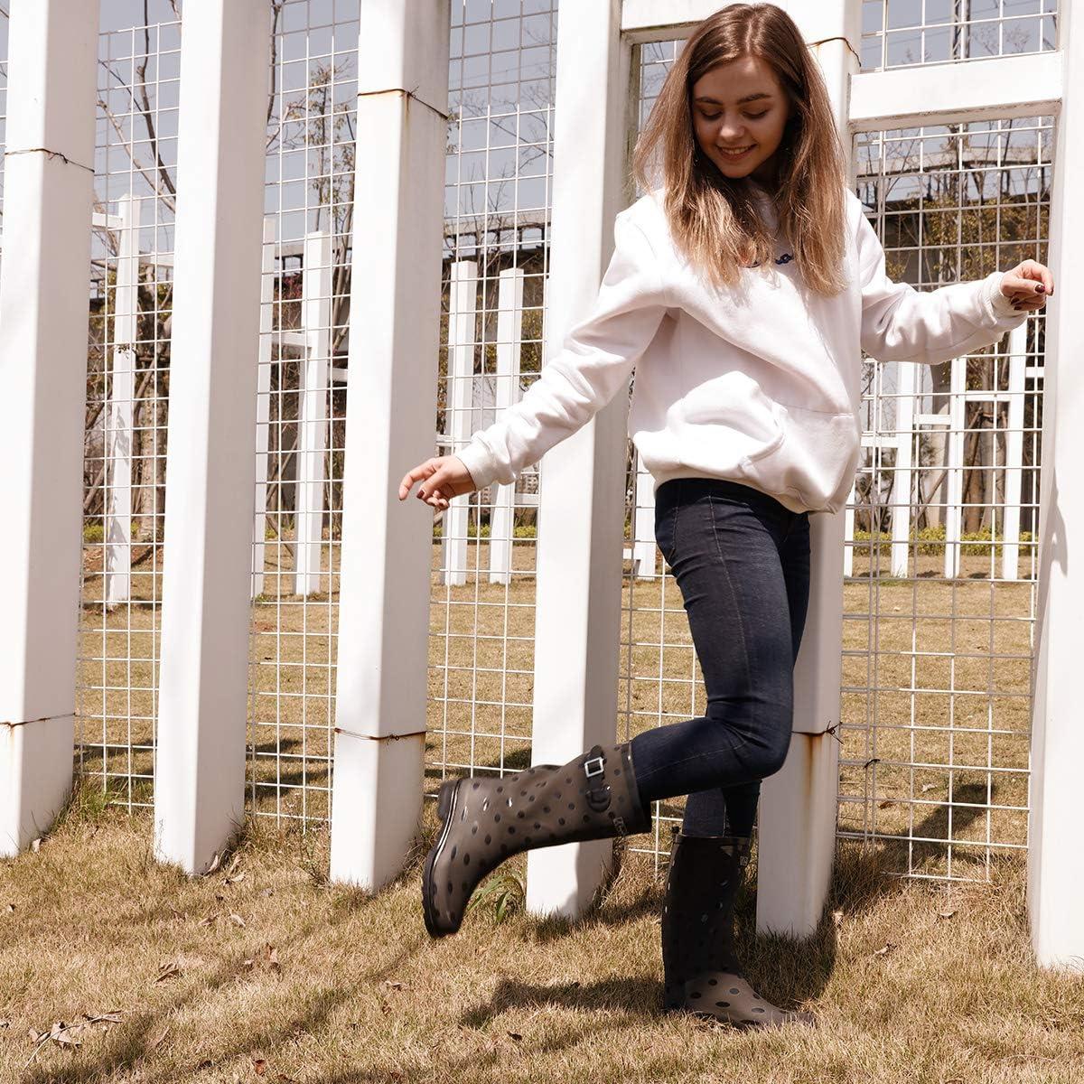 K KomForme Women/'s Printed Rubber Ankle Wellies,Waterproof Rain Shoes,Ladies Wellington Boots