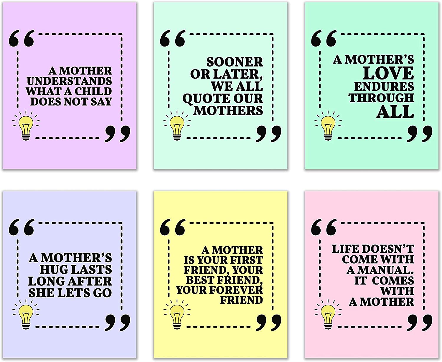 """MOM Inspirational Quotes: Set of 6 - Tell Mom why she's the best person in the world-Wall Art with quotes showing how Moms rule the planet; Unframed Poster/Photos (8""""x10"""")"""