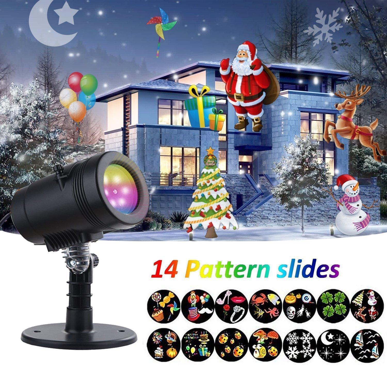 YMING Holiday Projector Lights, 14 Patterns Waterproof Decorative Landscape Lamp Rotating Indoor Outdoor Kaleidoscope Spotlight Light Show for Patio Party Bar Wedding Living Room Garden