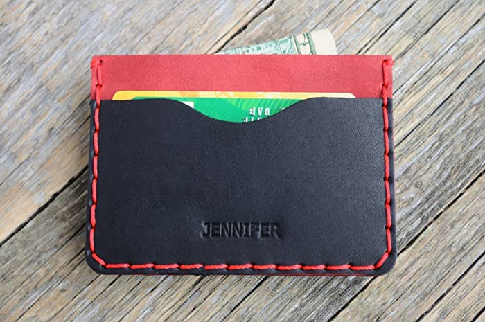 Credit Card Case Cash or ID Holder Rustic Style Unisex Pouch. Black and Red Leather Wallet