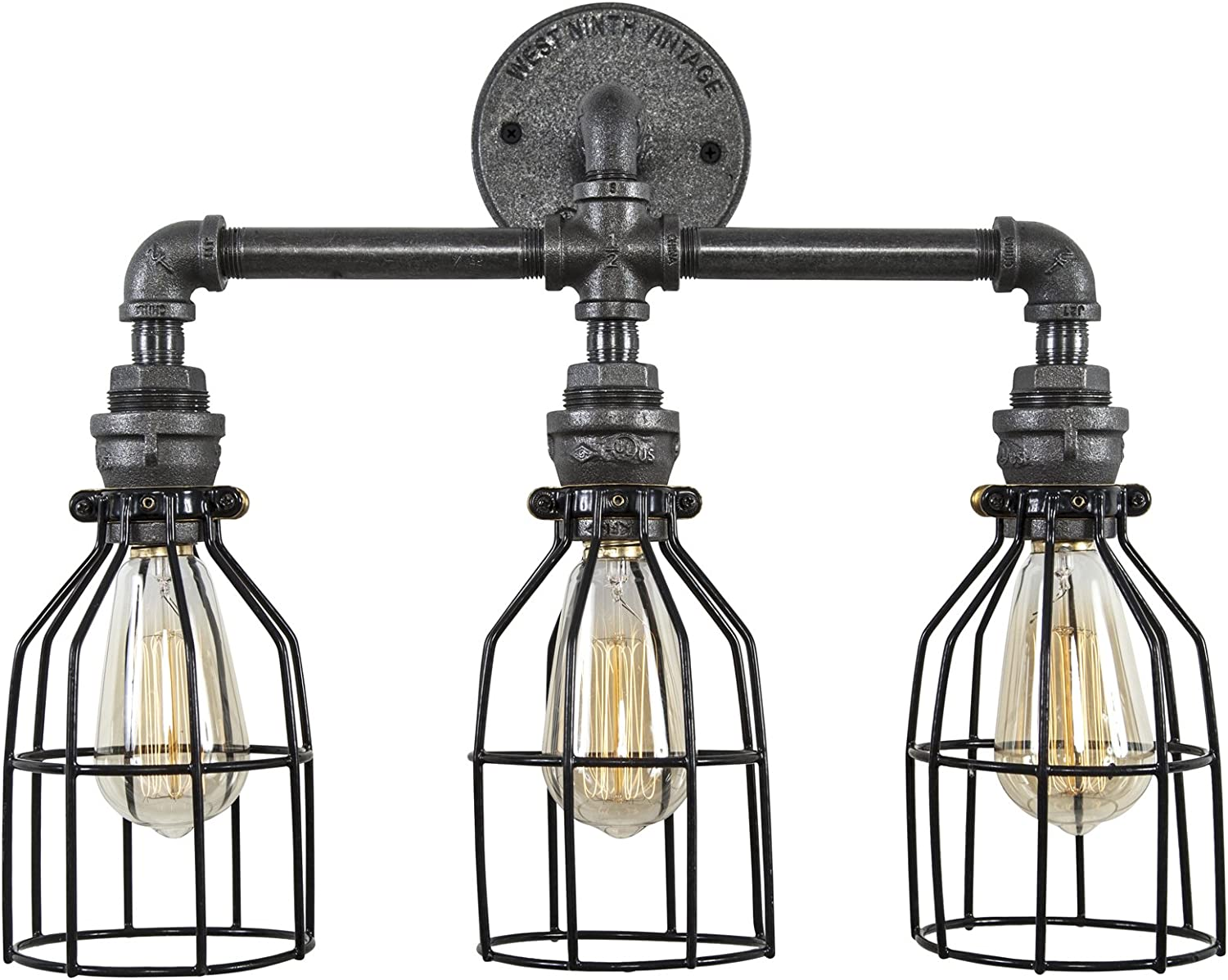 West Ninth Vintage Triple Socket Bathroom Vanity Iron Pipe Light with Cages