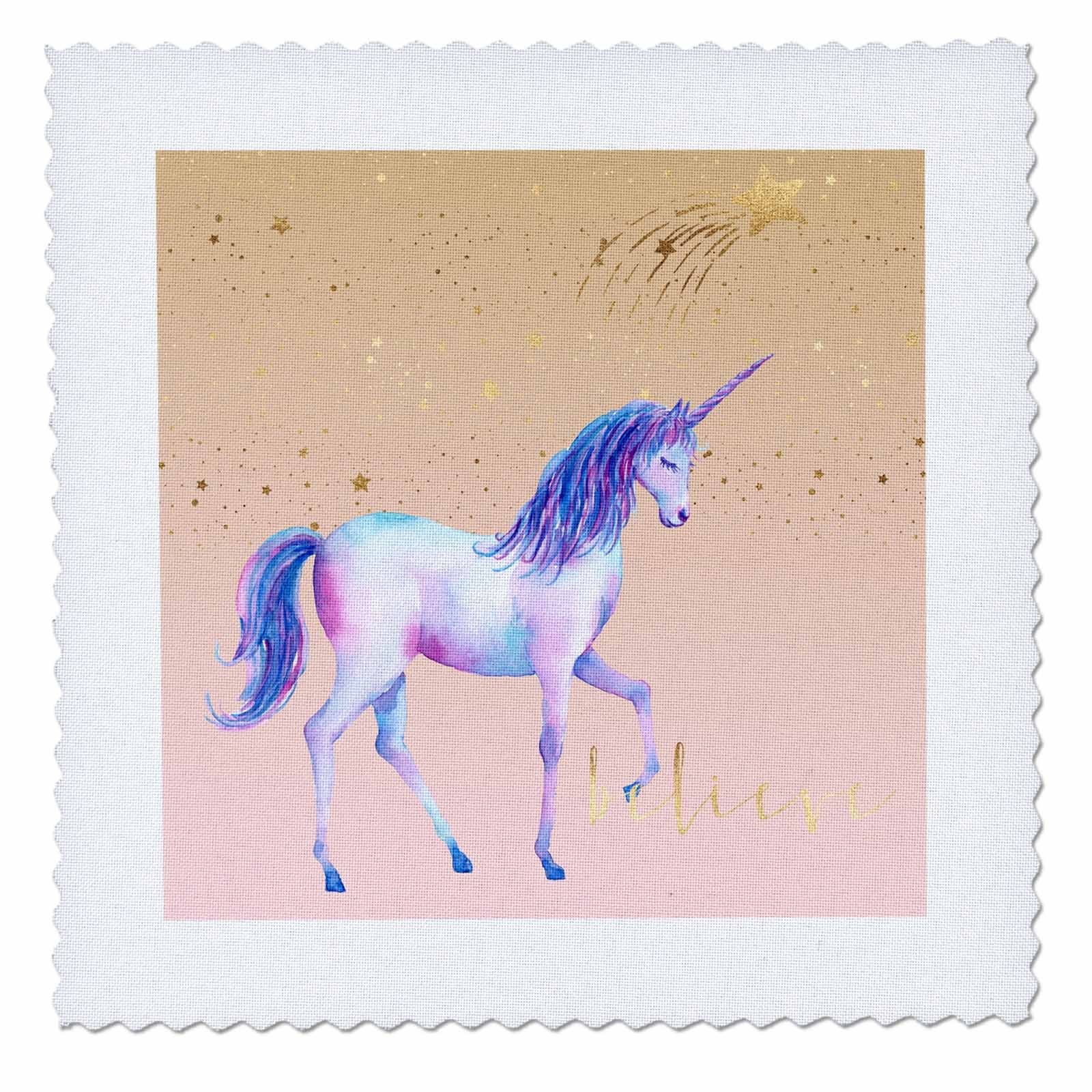 3dRose PS Animals - Image of Peach Gold Stars Believe Unicorn - 20x20 inch quilt square (qs_280781_8)