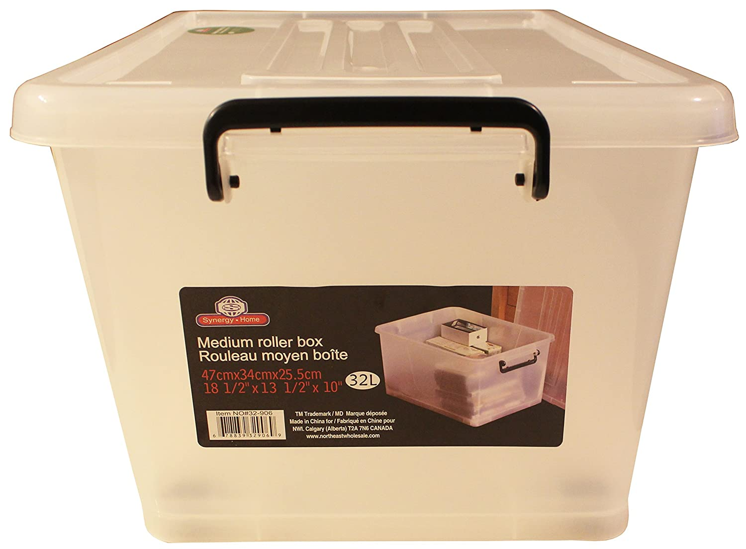 Plastic Storage ContainerWheeled Box Snap On Lid Stackable