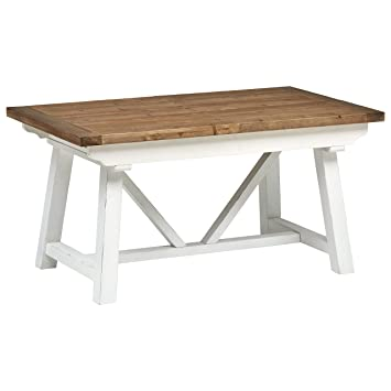 Stone & Beam Bradhurst Casual Farmhouse Wood Dining Kitchen Table, 31 Inch  Height, White