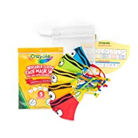 Crayola Kids Face Mask - 5 Reusable Cloth Face Masks Set, Tip Faces, Back to School Supplies