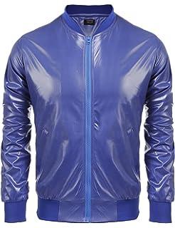 050a0470de2 Coofandy Men s Metallic Nightclub Varsity Jacket Shiny Button Zip-up  Baseball Bomber For Party