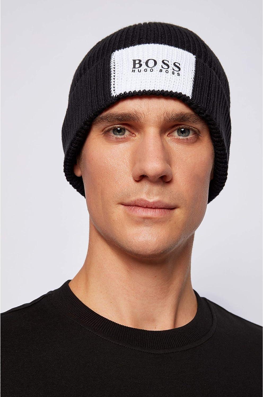 BOSS Herren Arebo Beanie Gerippte M/ütze aus Baumwolle mit Wolle im Colour-Block-Design