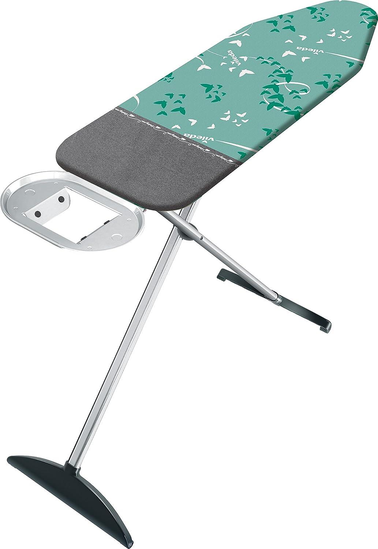 Vileda Park & Go - Tabla de planchar grande, altura regulable 75 - 96 cm, incluye funda con zona extra resistente para colocar planchas, medidas: 120 x 38cm, color verde y gris