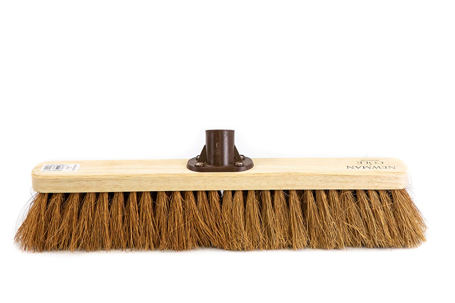 Newman and Cole 18' Wooden Broom Head - Replacement Wooden Broom Head for Outdoor Garden Yard Brush Sweeping - Wood Brush Head Fitted Fixing Bracket Connector (Soft Natural Coco)