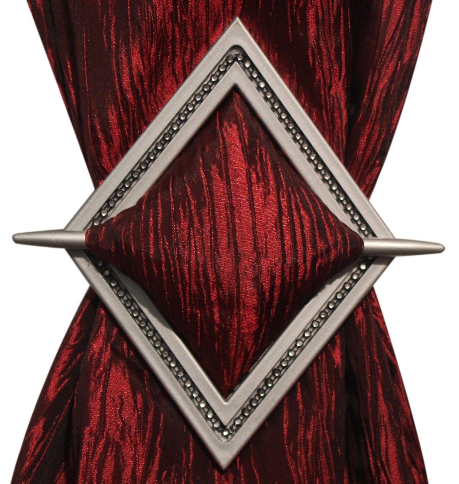 Set of 2 Decorative Curtain Holdbacks Window Curtain Tieback, Bling Diamond, 8''x6'', Bronze, Silver, Gold, and Black (Silver)