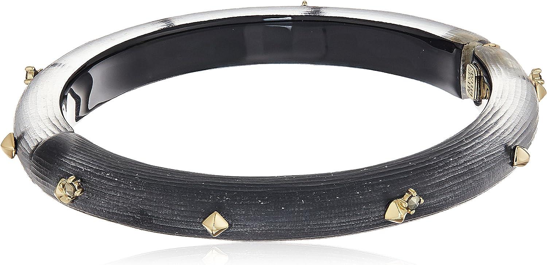 Alexis Bittar Jewelry Golden Studded Hing Bangle Bracelet