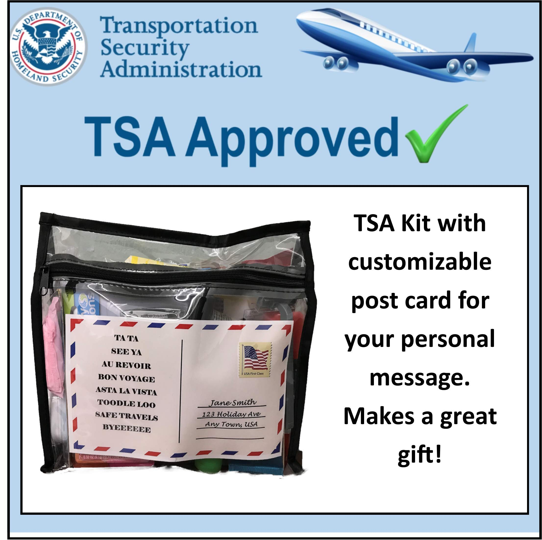 TSA Approved Women's Toiletry Kit 62 Popular Name Brand Items. Compare to Box Store Pricing,Eeach Item Costs Around $0.92 Each. Great Gift for Travel Companions or Business Trips.