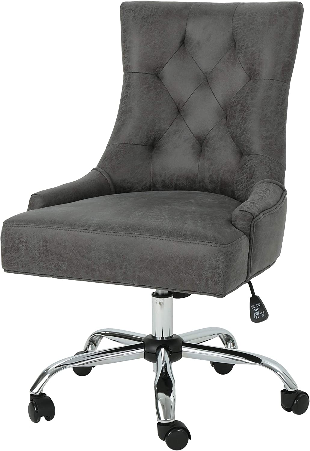 Christopher Knight Home Bagnold Desk Chair, Slate + Chrome: Kitchen & Dining