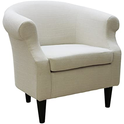 Upholstered Chair Barrel Back Armchair Contemporary Living Room Arm Guest Chair Removable Seat Cushion Microfiber Fabric Stallion Ivory
