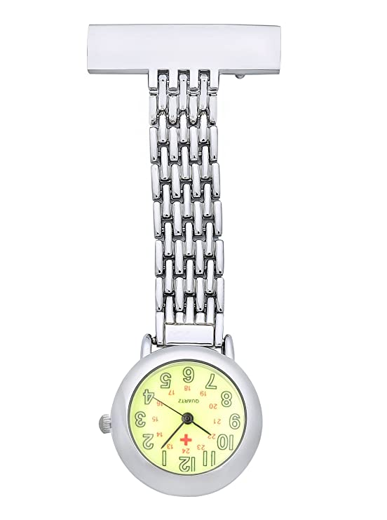 Amazon.com: ShoppeWatch Nurses Lapel Pin Watch 24hr Military Time Analog Infection Control FOB Green Dial NW-235: Watches