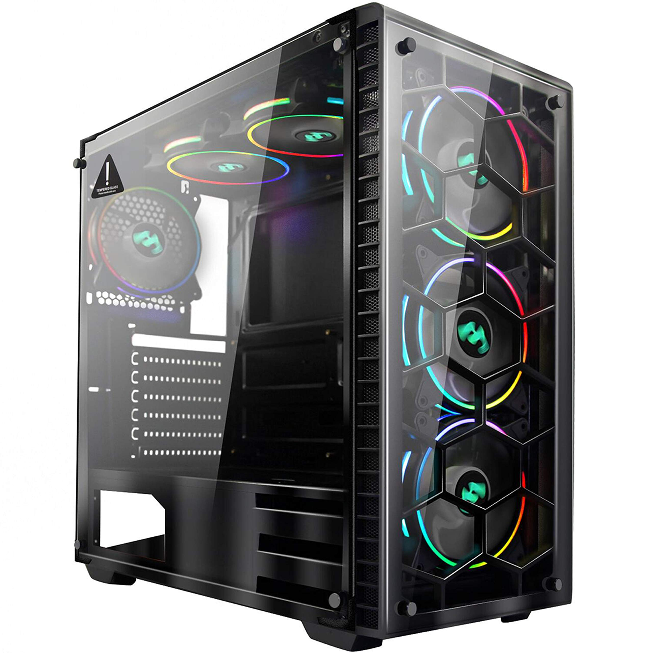 MUSETEX Phantom Black ATX Mid-Tower Desktop Computer Gaming Case USB 3.0 Ports Tempered Glass Windows with 6pcs 120mm LED RGB Fans Pre-Installed(903-S6) by MUSETEX
