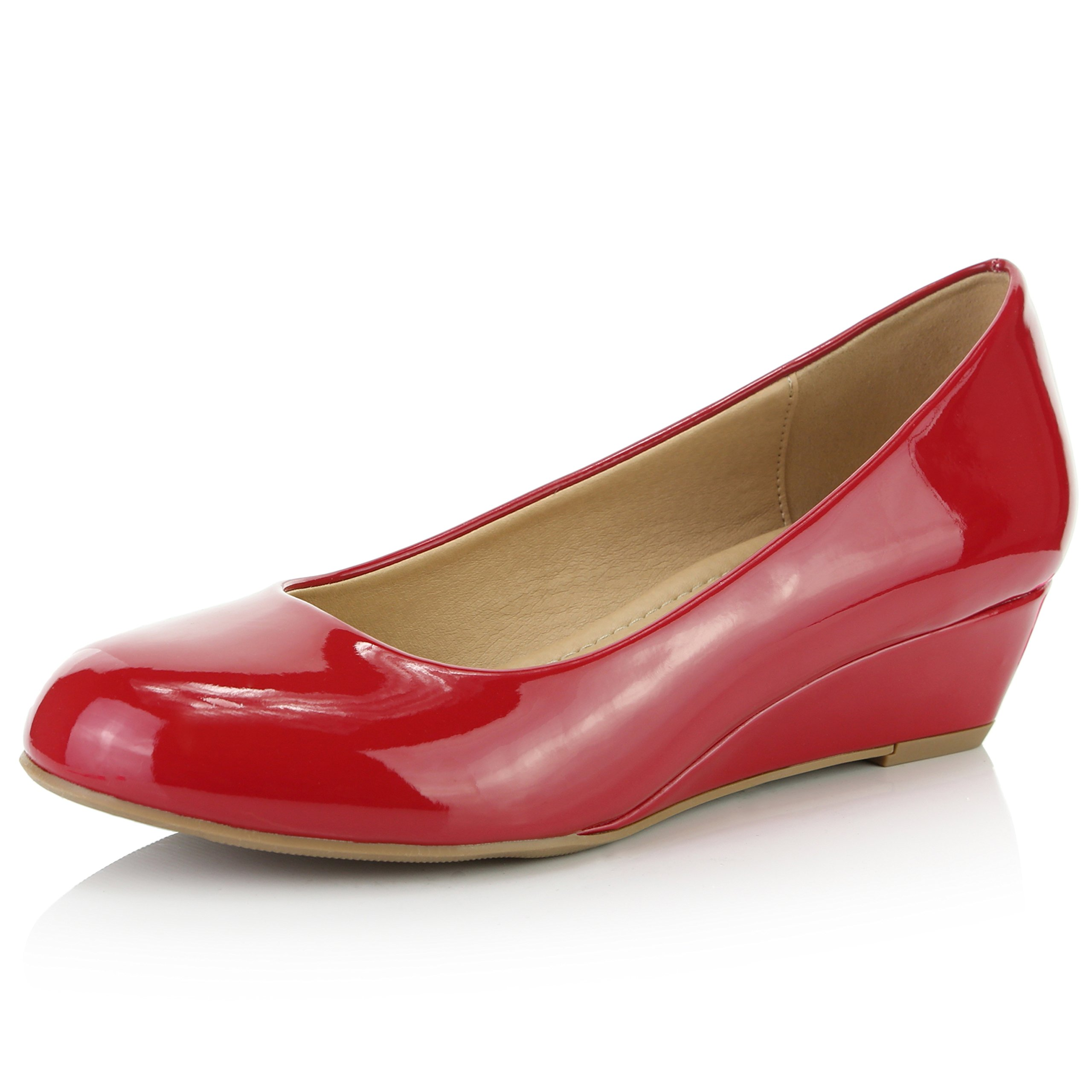 DailyShoes Women's Comfortable Fashion Low Heels Round Toe Wedge Pumps Shoes, Red Patent Leather, 6.5 B(M) US