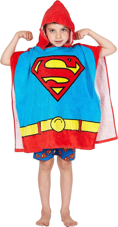 DC Comics 'Superman' Logo Superhero Hooded Bath Beach Swim Poncho Towel, Red, 4-7