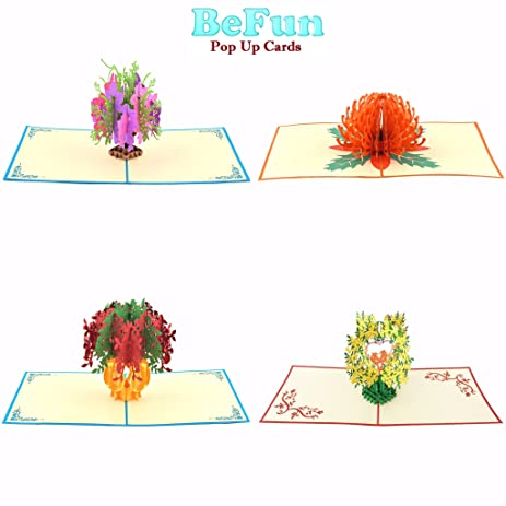 Amazon befun pop up greeting cards 4 unique designs 3d paper befun pop up greeting cards 4 unique designs 3d paper flowers greeting cards mightylinksfo